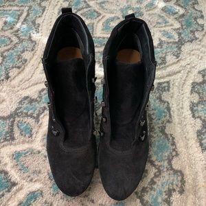 VIA SPIGA Black wedge heel ankle booties